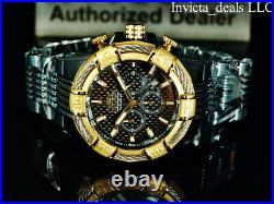 NEW Invicta Men's 52mm BOLT Chronograph Black Fiber Glass Dial Black/Gold Watch