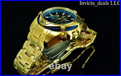NEW Invicta Men's 52mm BOLT SCUBA Chronograph BLUE DIAL 18K Gold Plated SS Watch