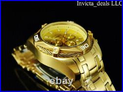 NEW Invicta Men's 52mm BOLT SCUBA Chronograph GOLD DIAL 18K Gold Plated SS Watch