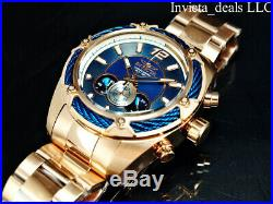 NEW Invicta Men's 52mm BOLT THUNDER Chronograph BLUE Dial Rose Tone SS Watch