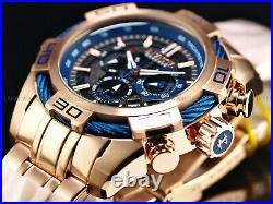 NEW Invicta Men's 54mm RESERVE BOLT SWISS Quartz Chronograph Rose/Blue SS Watch