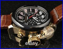 @NEW Invicta Men's 54mm Russian Diver Chronograph Leather Strap Watch 22291 Gold