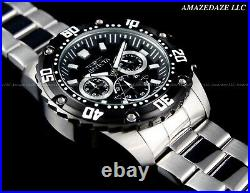 NEW Invicta Men's PRODIVER 48mm Stainless Steel Black Dial Chronograph Watch