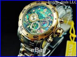 NEW Invicta Men's Pro Diver SCUBA Chrono Abalone Dial 18K Gold Two Tone SS Watch