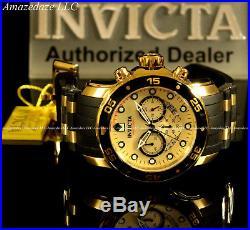 NEW Invicta Men18k Gold Plated Scuba Prodiver VD53 Chronograph Golden Dial Watcg
