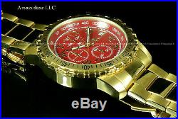 NEW Invicta Mens 18K Gold Plated Stainless St. Red Dial Chronograph Tachy Watch
