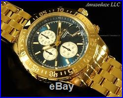 NEW Invicta Mens 18K Gold Plated Stainless Steel Chronograph Blue Dial Aviator W