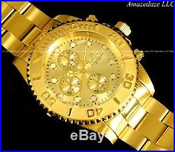 NEW Invicta Mens 18K Gold Plated Stainless Steel Golden Dial Chronograph Watch