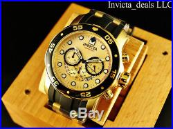 NEW Invicta Mens 48mm Pro Diver Scuba Chronograph Gold Dial 18K Gold IP SS Watch