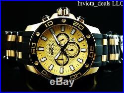 NEW Invicta Mens 50mm Pro Diver Scuba Chronograph Gold Dial 18K Gold IP SS Watch