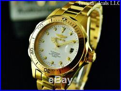 NEW Invicta Mens Pro Diver 18K Gold Ion Plated White Dial Stainless Steel Watch