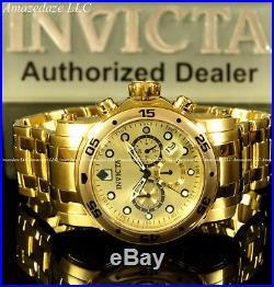 NEW Invicta Mens Pro Diver Scuba Chronograph 18KT Gold Plated Stainless St. Watc