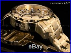 NEW Invicta Mens Pro Diver Scuba Chronograph 18KT Gold Plated Stainless St Watch