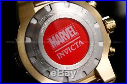 NEWInvicta MARVEL Men 50mm Bolt IRON MAN L. E. 18K Gold Plated S. S Bracelet Watch