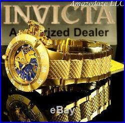 New Invicta 50mm Men Seahorse Subaqua Noma III Swiss Chrono 18K Gold Plated Watc