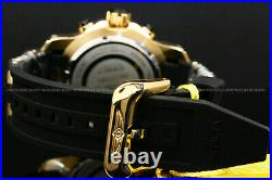 New Invicta Men 52MM BOLT 18K Gold Plated Black/Gold Dial Chrono S. S Strap Watch