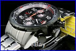 New Invicta Men Aviator 48MM Gunmetal Dial Tachymeter S. S Chrono Bracelet Watch