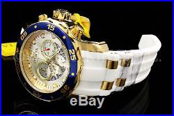 New Invicta Men Scuba Pro Diver Chrono 18K Gold Plated Sunray Dial SS Poly Watch