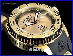 New Invicta Men's 47mm Grand Diver Gold Dial Automatic Blk Silicone Strap Watch