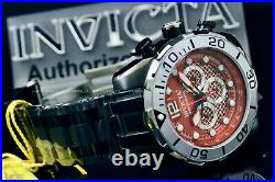 New Invicta Men's 50MM Pro Diver BLOOD RED Dial Chronograph S. S Bracelet Watch