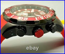 New Invicta Men's 50MM Red Bezel Pro Diver Red Silicone Strap Chronograph Watch