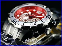 New Invicta Men's 50mm VAMPIRE Pro Diver Chronograph Black IP Red Dial SS Watch