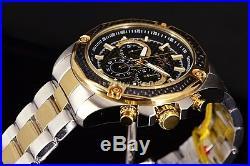 New Invicta Men's Aviator Black Carbon Fiber Chrono 2Tone Gold SS Bracelet Watch