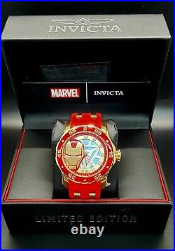 New Invicta Men's Marvel Ironman Limited Edition 34751 Red, Gold 48MM Case Watch