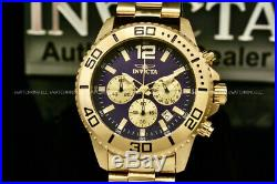 New Invicta Men's Pro Diver 45MM 18K Gold Plated Blue Dial Chronograph S. S Watch