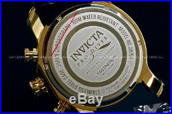New Invicta Men's Pro Diver 50 MM Chrono 18K Gold Plated Blak Dial SS Poly Watch