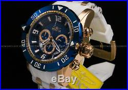 New Invicta Men's Pro Diver 50 MM Chrono 18K Rose Gold Plated Blue Dial SS Watch