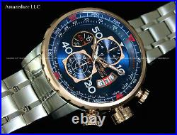 New Invicta Men's Stainless Steel Tachymeter Chronograph AVAITOR Blue Dial Watch
