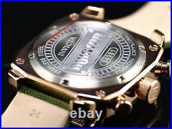 New Invicta Mens 48mm Aviator Army Green Chronograph Rose Gold IP Nylon SS Watch