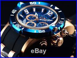 New Invicta Mens 50mm Pro Diver Quartz Chronograph 18K Rose Gold Blue Dial Watch