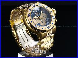 New Invicta Mens 52mm Combat Seal 500M Diver 18K Gold IP Sapphire Blue SS Watch