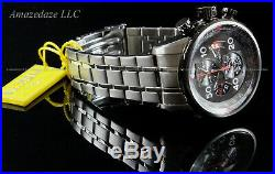 New Invicta Mens Stainless Steel Tachymeter Chronograph Grey Dial Aviator Watch