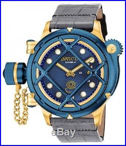 New Men's Invicta 16198 Russian Diver Swiss Mechanical Blue Dial Leather Watch