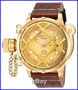 New Men's Invicta 16251 Russian Diver Swiss Mechanical Gold Dial Leather Watch