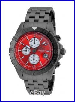 New Mens Invicta 21661 Aviator Maverick Red Dial Chronograph Bracelet Watch