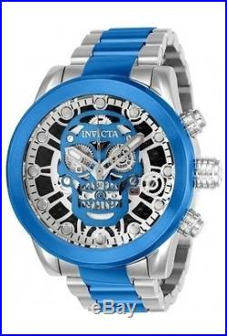 New Mens Invicta 21881 Skull Skeleton Dial Chronograph Two Tone Bracelet Watch