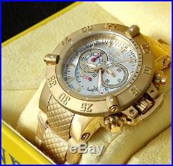 New Mens Invicta 5406 Subaqua Chronograph Gold Tone Steel Bracelet Watch