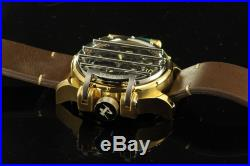 Nwt Mens Invicta (20258) Vintage Reserve Brown Leather Strap Two Tone Dial Watch