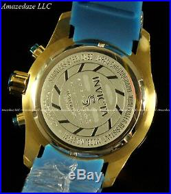 RARE Invicta Mens Speedway Scuba Chronograph 14k Gold Plated Blue Dial SS Watch